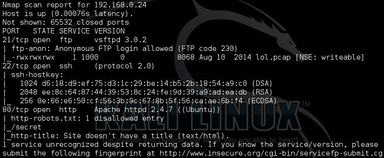 Nmap full TCP scan