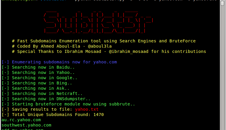 Sublist3r - Free tool to enumerate Subdomains for pentester