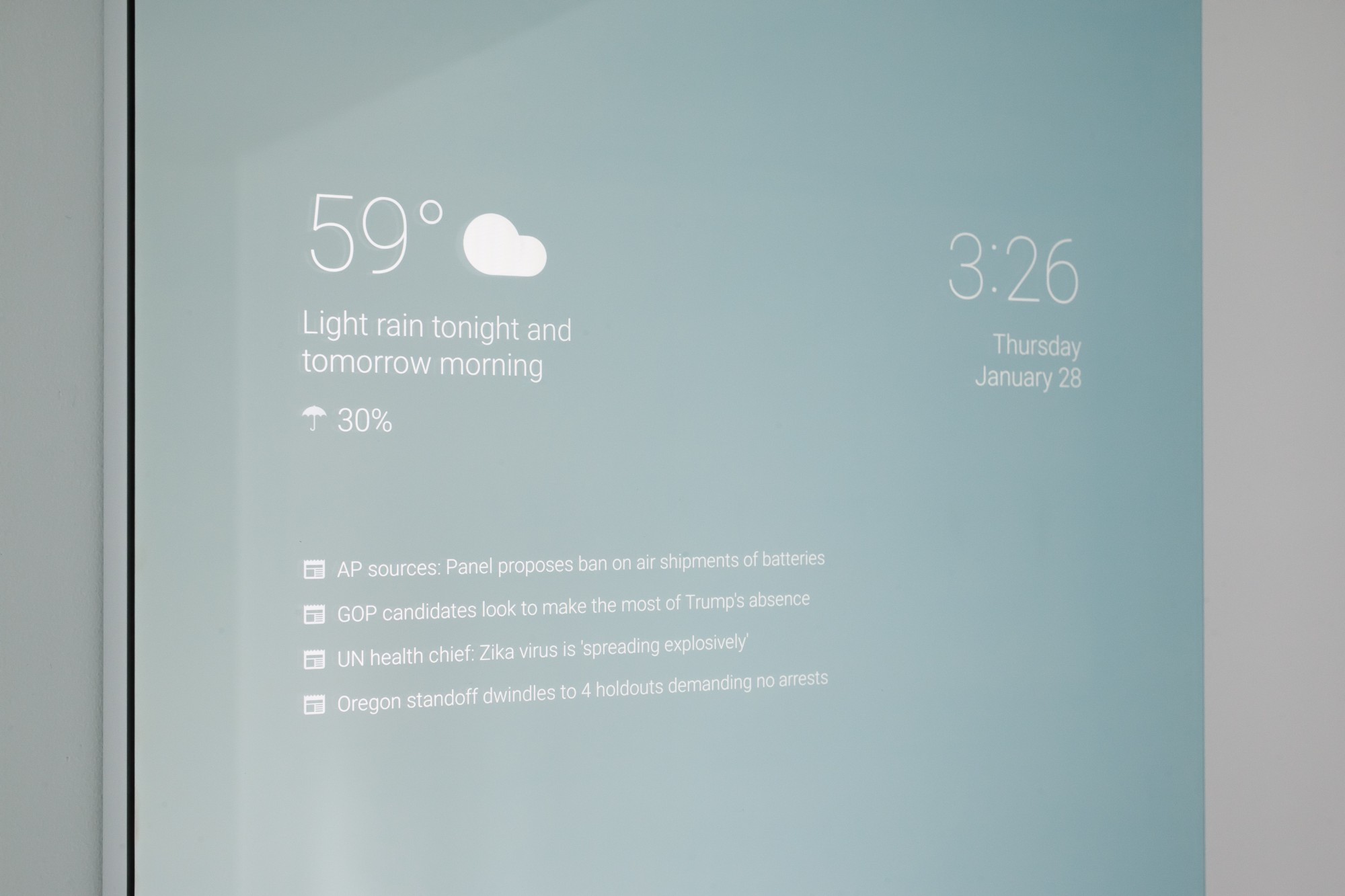 Smart Bathroom Mirror Runs Android To Bring Weather Forcast And News