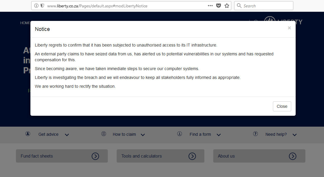 Liberty group hacked
