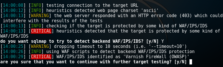 sqlmap detecting type of firewall