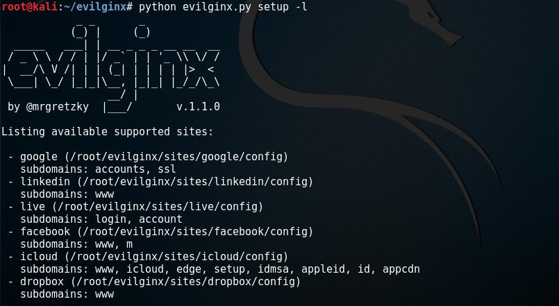 evilginx available site templates