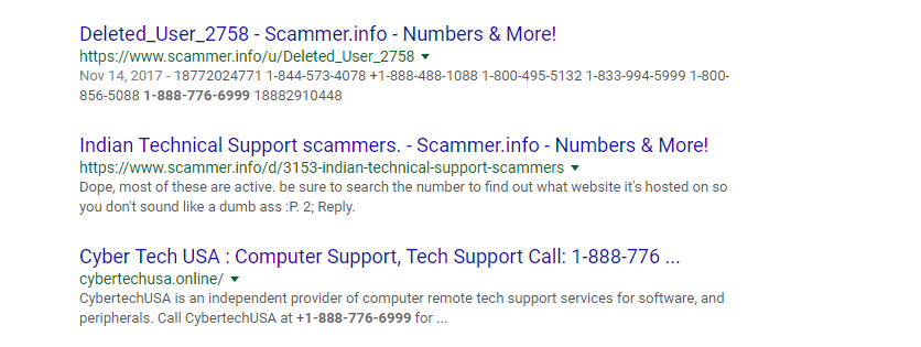 Apple Care scam web results