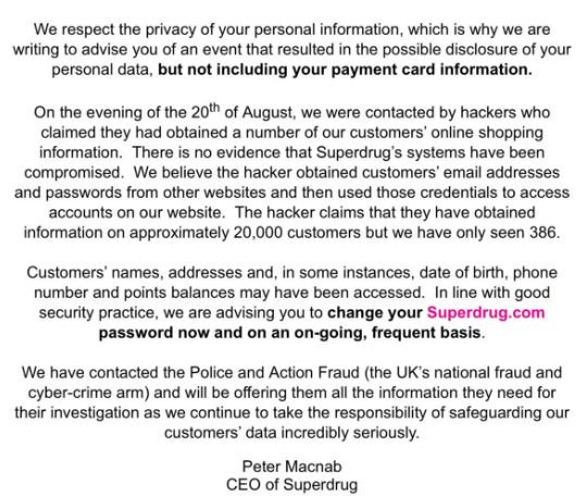 superdrug breach notification