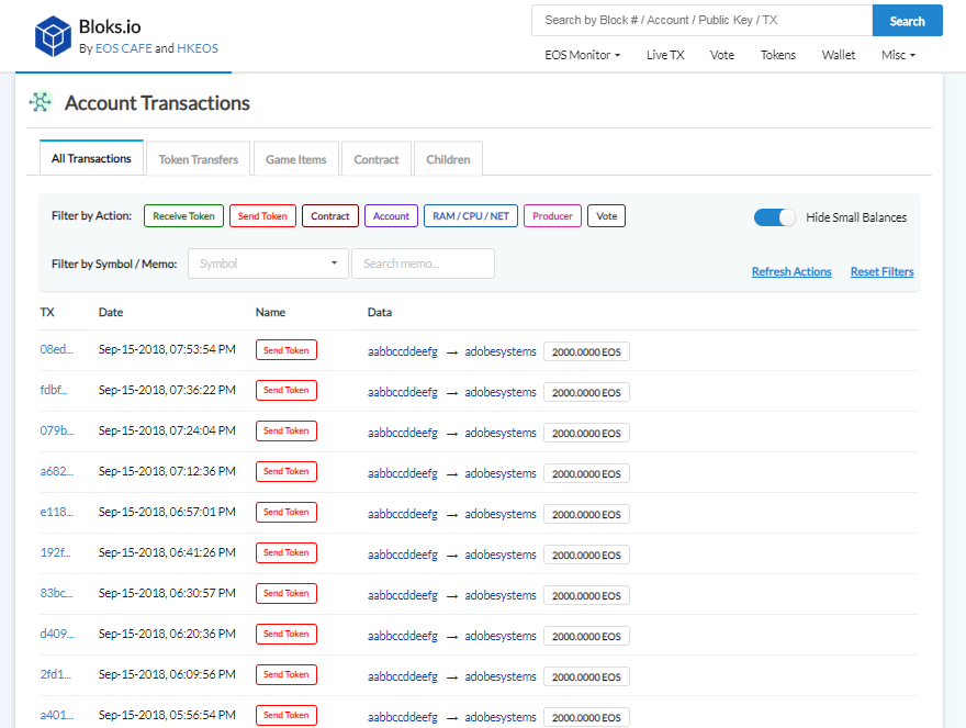 EOSBet attacker account transaction