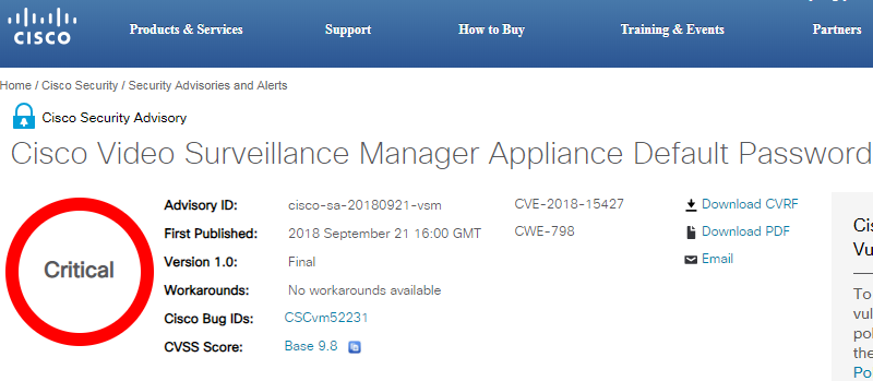 Cisco patch video surveillance manager vulnerability