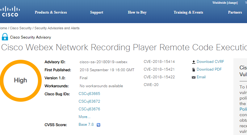 Cisco patched flaws in Webex Network Recording Player