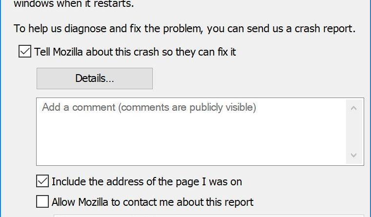 Firefox bug crashes browser
