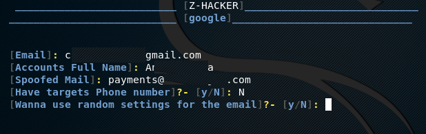 Google phishing setup