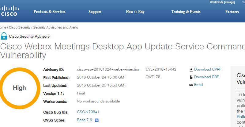 Webex Meetings Desktop App vulnerability