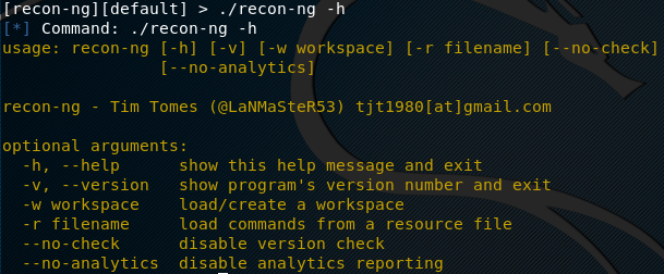 recon-ng help menu