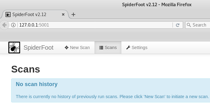 spiderfoot web browser console