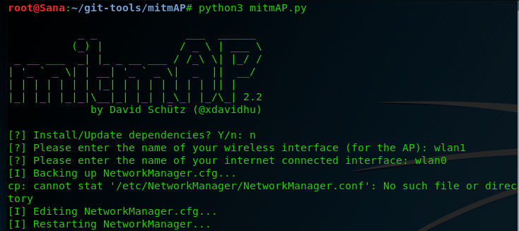 mitmAP - An Open Source Tool to Create a Fake Access Point and Sniff
