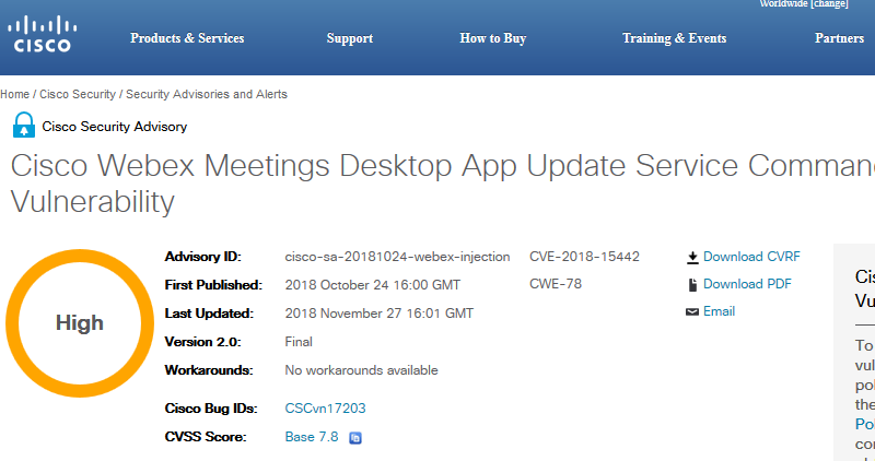 Cisco fixed previous incomplete patch in Webex Meeting App