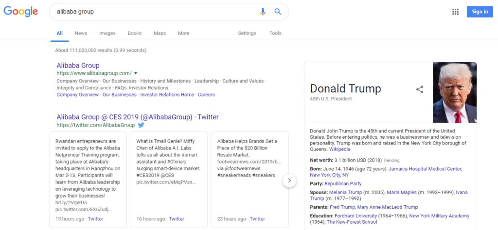 Google spoofed result