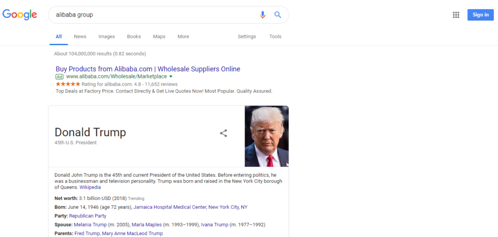 Google spoofed result with knowledge graph