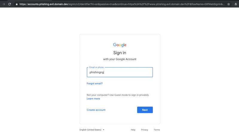 Modlishka phishing tool