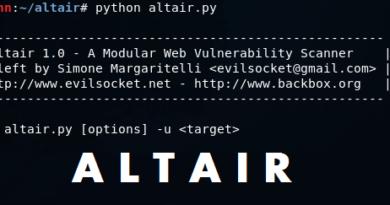 Altair – An Open Source Modular Web Vulnerability Scanner