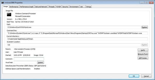 launching malware exploiting WinRAR vulnerability