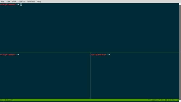 Tmux in splitscreen mode
