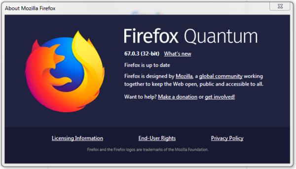 Firefox 67.0.3 with zero-day fix