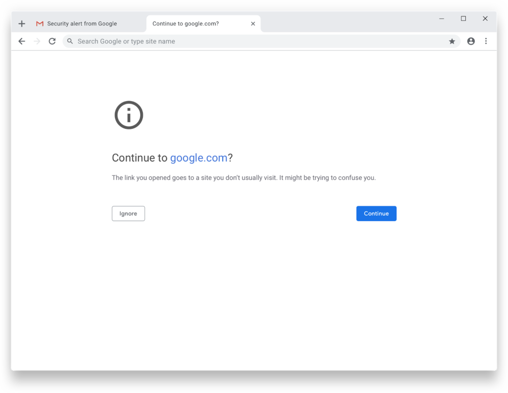 Google Chrome 75 warning