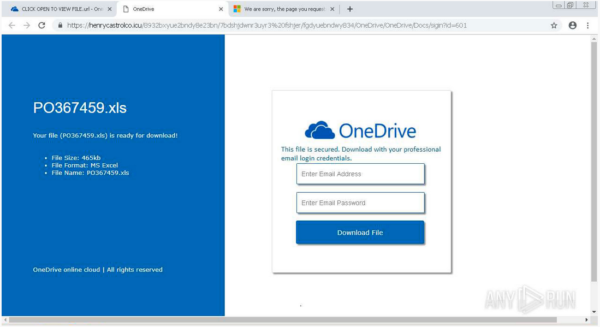 fake OneDrive login page
