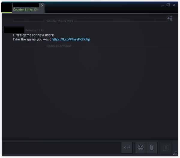 Steam phishing message