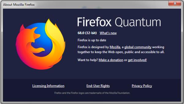 Firefox 68 Mozilla updates