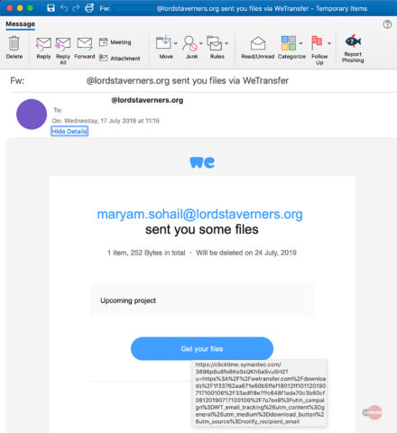 WeTransfer alerts phishing email