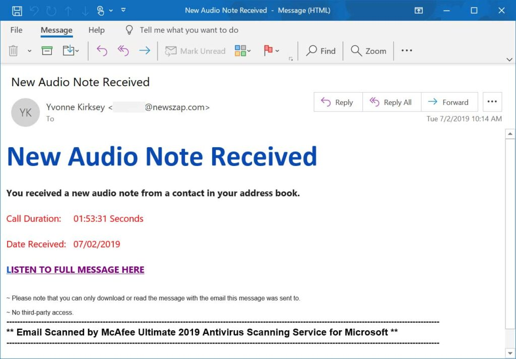 OneNote audio note phishing