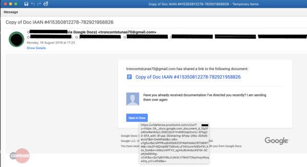 Trickbot phishing email