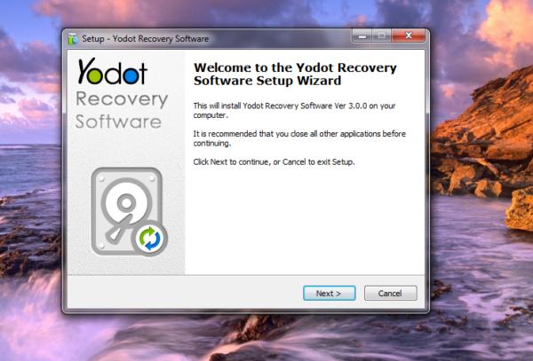 Yodot Recovery Software setup wizard