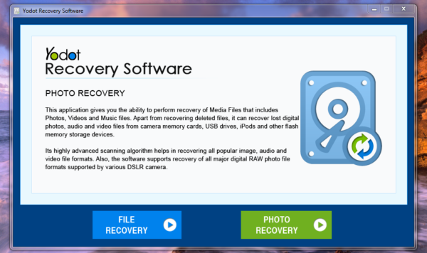 Yodot Recovery Software startup screen