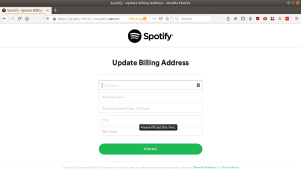 Spotify phishing attack last page