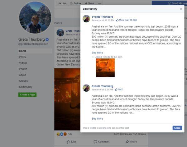 Greta Thunburg Facebook page admin