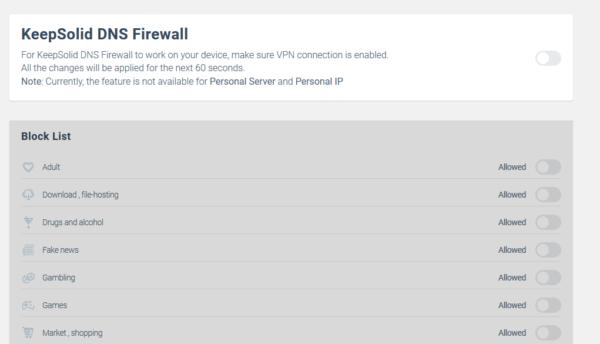 KeepSolid DNS Firewall toggle