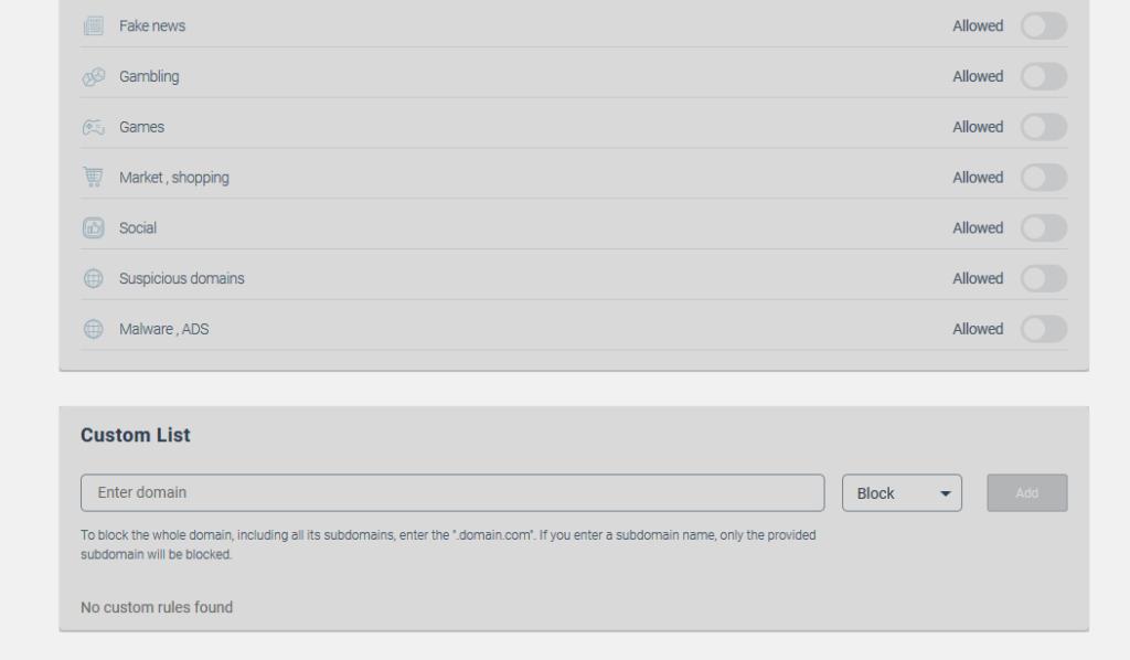 KeepSolid DNS Firewall custom option