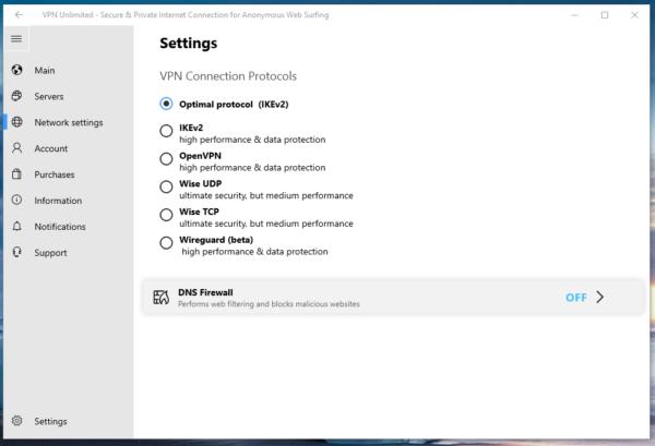 KeepSolid DNS Firewall main setting