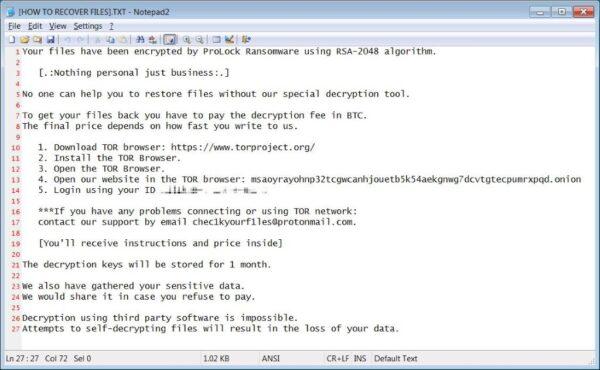 ProLock ransomware note