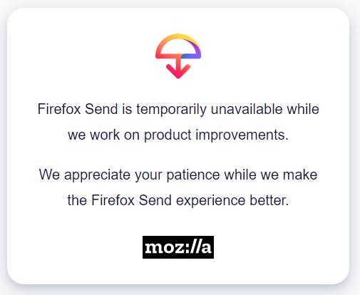 Mozilla suspend Firefox Send