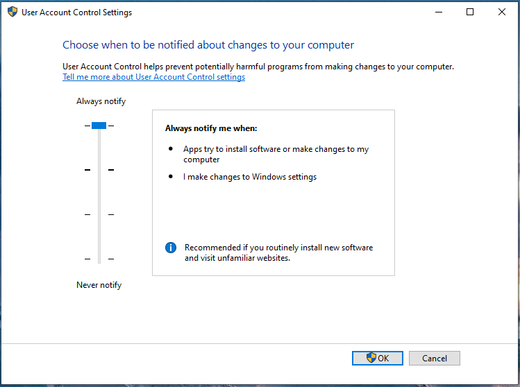 Windows 10 UAC setting