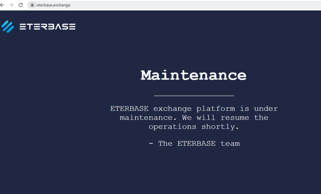 Eterbase down after hack