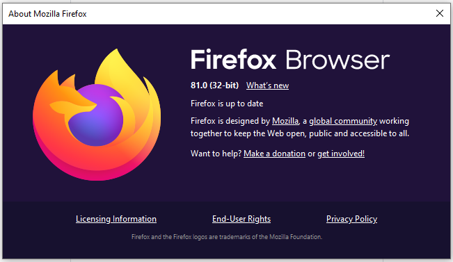 Firefox 81 bug fixes