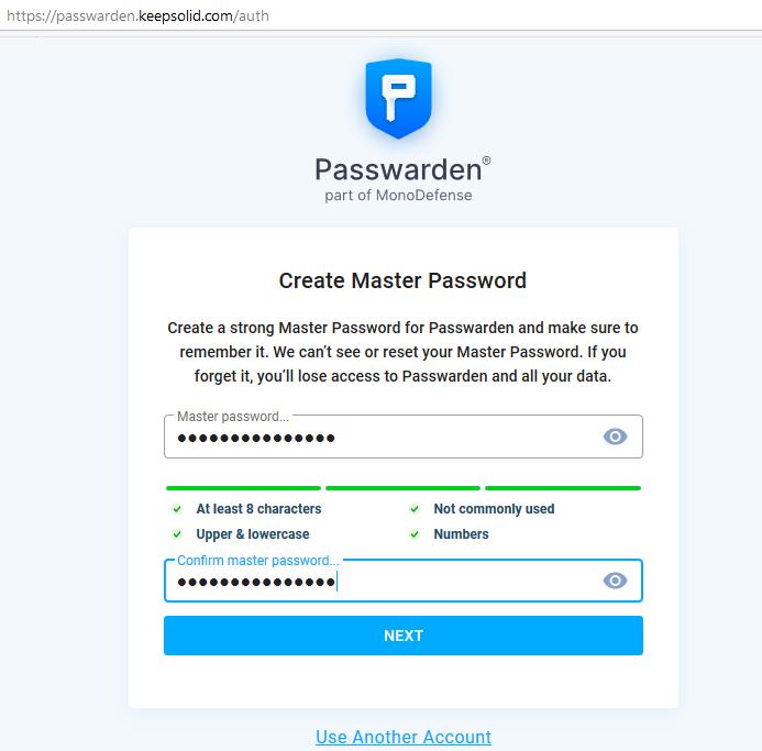 KeepSolid Passwarden signing up
