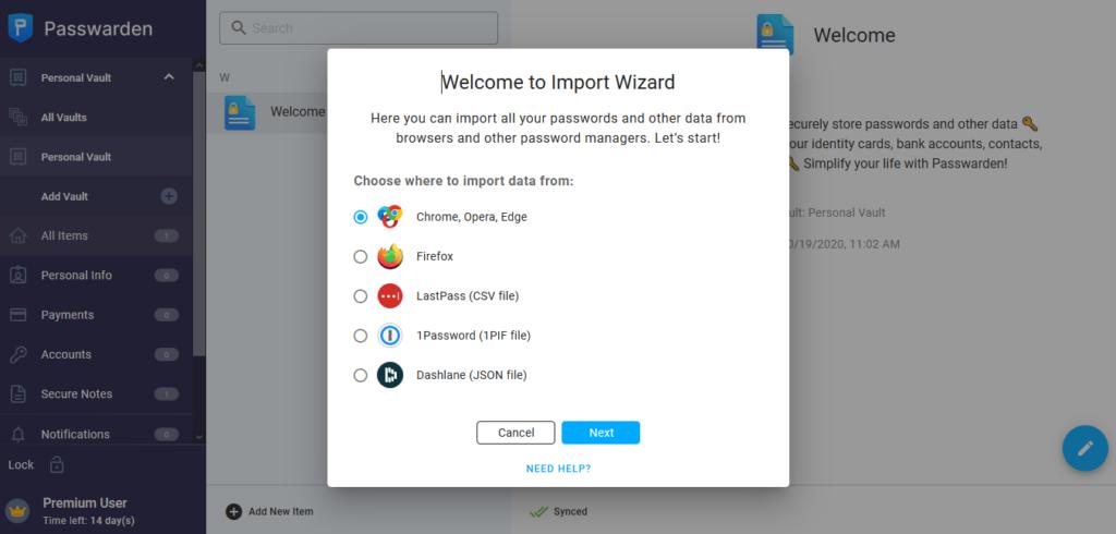 KeepSolid Passwarden import
