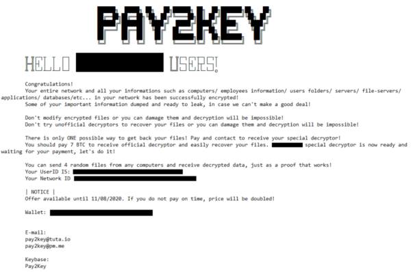 Pay2Key ransomware ransom note