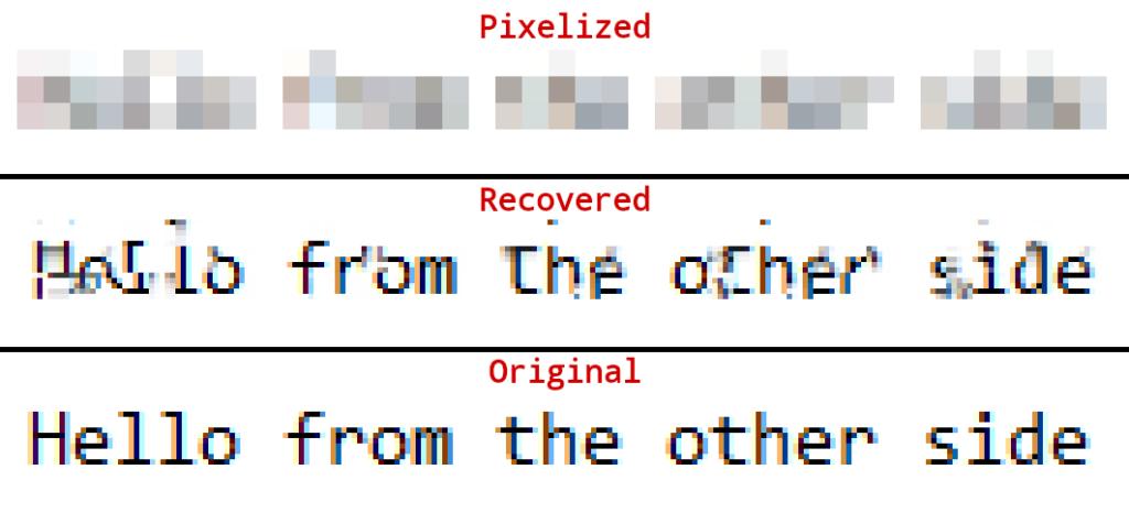 Depix tool result