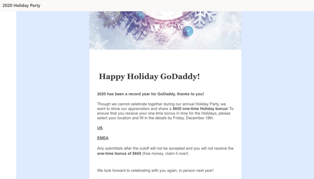 GoDaddy phishing test email message